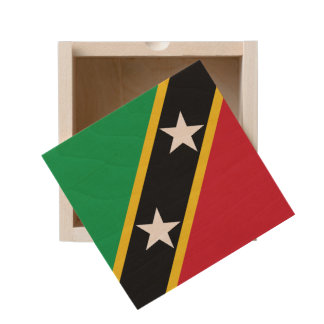 Saint Kitts and Nevis Flag Wooden Keepsake Box