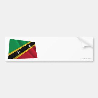Saint Kitts and Nevis Waving Flag Car Bumper Sticker