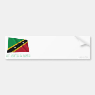 Saint Kitts and Nevis Waving Flag with Name Car Bumper Sticker