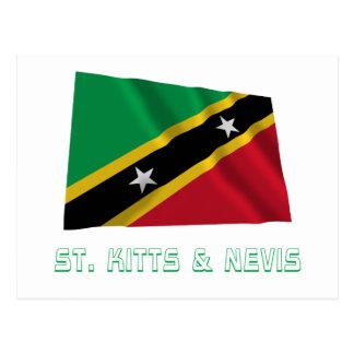 Saint Kitts and Nevis Waving Flag with Name Postcard