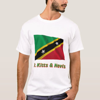 Saint Kitts and Nevis Waving Flag with Name T-Shirt