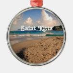 Saint Kitts Beach Round Metal Christmas Ornament