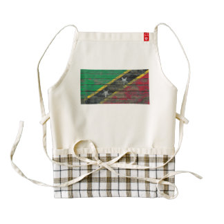 Saint Kitts Flag on Rough Wood Boards Effect Zazzle HEART Apron