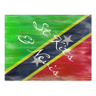 Saint Kitts & Nevis distressed flag Postcard