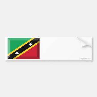 Saint Kitts & Nevis Flag Jewel Car Bumper Sticker