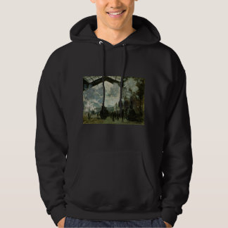 Saint Lazare Station by Claude Monet Hooded Pullover