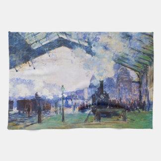 Saint-Lazare Station, Normandy Train, Claude Monet Hand Towel