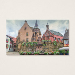 Saint-Leon fountain in Eguisheim, Alsace, France Business Card