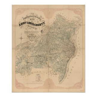 Saint Louis County vintage map Poster
