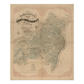 Saint Louis County vintage map Poster