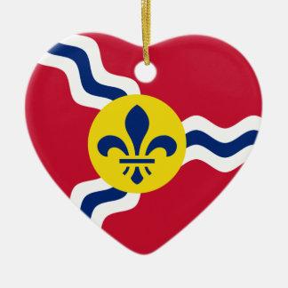 Saint Louis Flag Heart Double-Sided Heart Ceramic Christmas Ornament