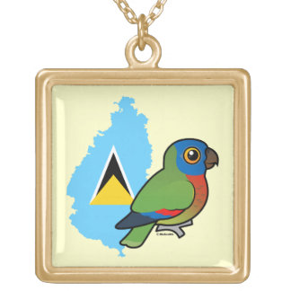 Saint Lucia Amazon Flag Gold Plated Necklace