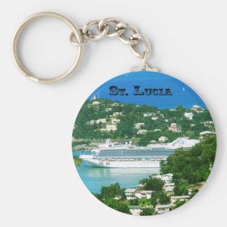Saint Lucia Basic Round Button Keychain