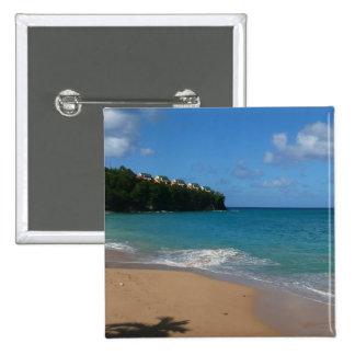 Saint Lucia Beach Tropical Vacation Landscape Pinback Button