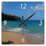 Saint Lucia Beach Tropical Vacation Landscape Square Wall Clock
