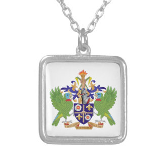 Saint Lucia Coat of Arms Silver Plated Necklace