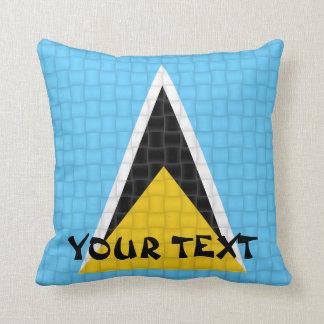 Saint Lucia Flag: ADD TEXT Throw Pillow