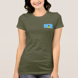 Saint Lucia Flag and Map dk T-Shirt