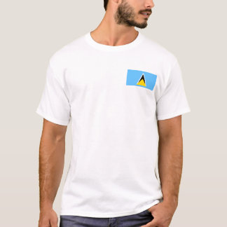 Saint Lucia Flag and Map T-Shirt