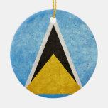 Saint Lucia Flag Christmas Ornaments
