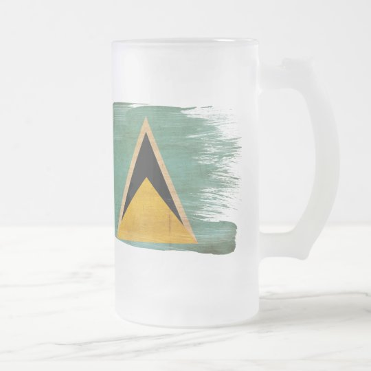 Saint Lucia Flag Frosted Glass Beer Mug