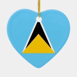Saint Lucia Flag Heart Ornaments
