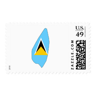 Saint Lucia flag map Stamp