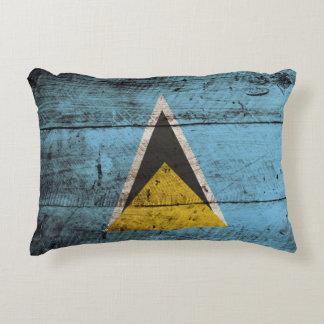 Saint Lucia Flag on Old Wood Grain Decorative Pillow