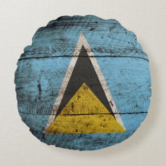 Saint Lucia Flag on Old Wood Grain Round Pillow
