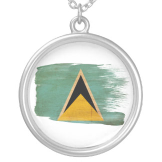 Saint Lucia Flag Silver Plated Necklace