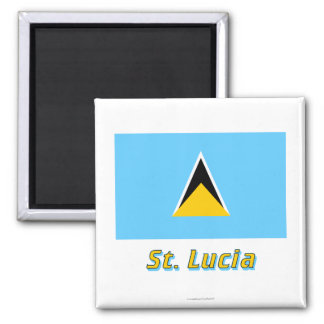 Saint Lucia Flag with Name Magnet