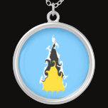 Saint Lucia Gnarly Flag Silver Plated Necklace