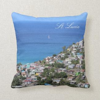 Saint Lucia Island Coastal View Throw Pillow