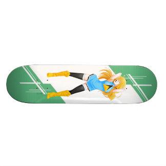 Saint Lucia Manga girl dressed in Flag Custom Skate Board