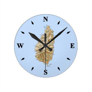 Saint Lucia Map Clock