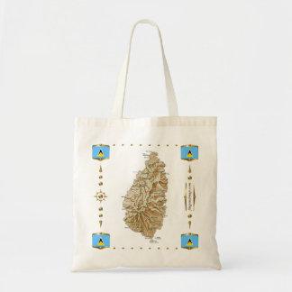 Saint Lucia Map + Flags Bag