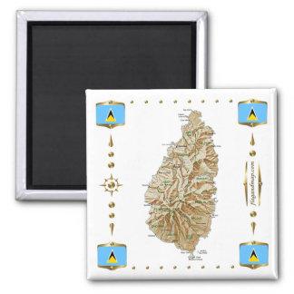 Saint Lucia Map + Flags Magnet