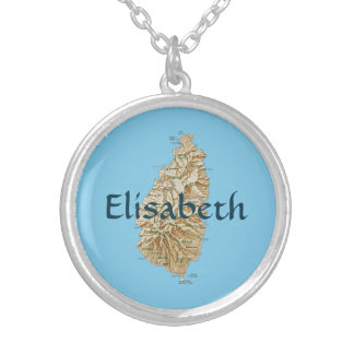 Saint Lucia Map + Name Necklace