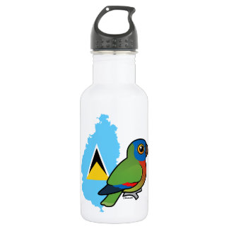 Saint Lucia Parrot Map Stainless Steel Water Bottle