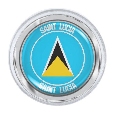 Saint Lucia Round Emblem Silver Finish Lapel Pin
