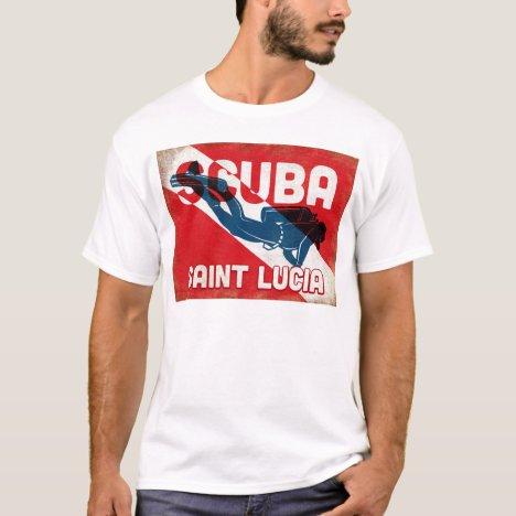 Saint Lucia Scuba Diver - Blue Retro T-Shirt