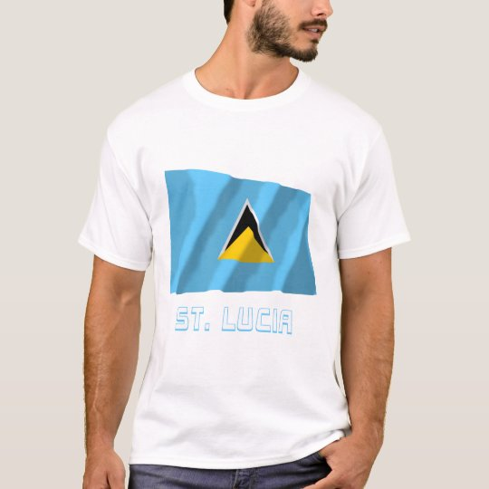 Saint Lucia Waving Flag with Name T-Shirt