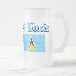 Saint Lucian distressed flag design Frosted Glass Beer Mug