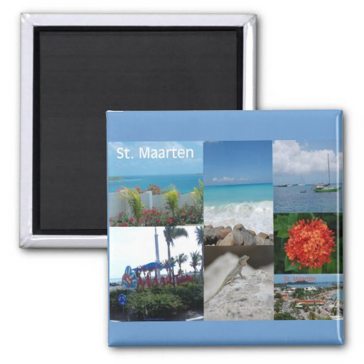 Saint Maarten Photo Collage by Khoncepts 2 Inch Square Magnet