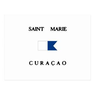 Saint Marie Curacao Alpha Dive Flag Postcard