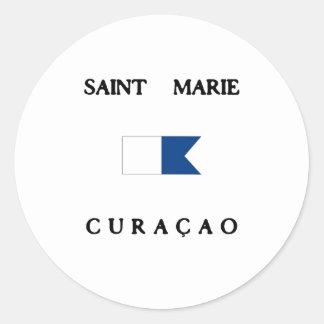 Saint Marie Curacao Alpha Dive Flag Classic Round Sticker