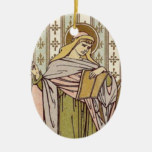 Saint Mark Double-Sided Oval Ceramic Christmas Ornament