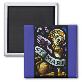 Saint Mark The Evangelist Stained Glass Art 2 Inch Square Magnet