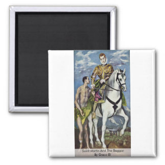 Saint Martin And The Beggar By Greco El 2 Inch Square Magnet