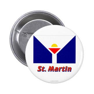 Saint Martin Flag with Name Button